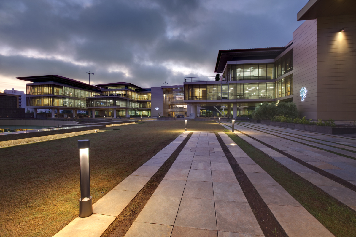 Suzlon One Earth Campus, Pune. Architect: CCBA, Tao Architects, Ravi & Varsha Govandi. Lighting design: Satish Rana, LVI, Pune.