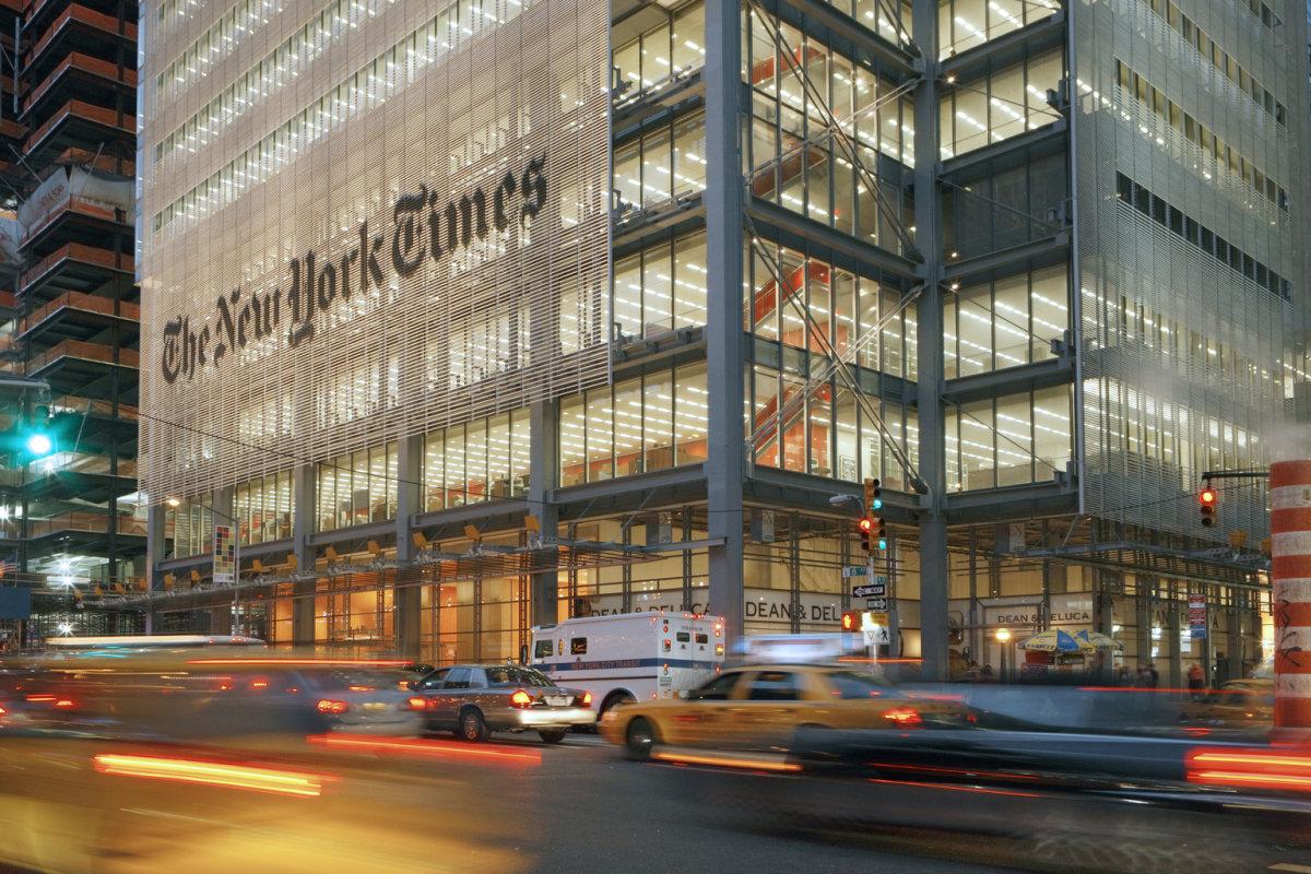 The New York Times Building, New York. Architect: Renzo Piano Building Workshop, Genoa/Paris, FXFowle Architects, New York. Lighting design: OVI Office for Visual Interaction, New York.
