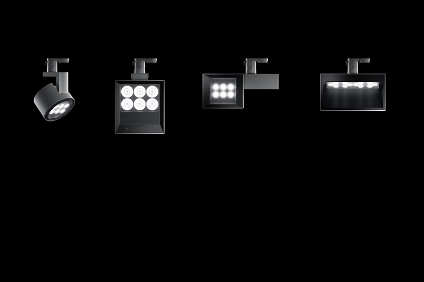 A consistent luminaire system concept featuring exchangeable Spherolit lenses enables all light distributions to be used even with different spotlight designs.