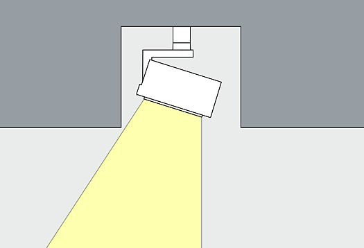 Ceiling channel: integrating the lighting tools into a ceiling channel removes the luminaires as much as possible from the view of the observer.