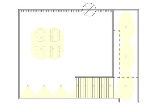 With qualitative lighting design the floor plan specified zones: wallwashers opposite the entrance, downlights with oval flood light distribution for the gallery and double-focus downlights for the waiting area.
