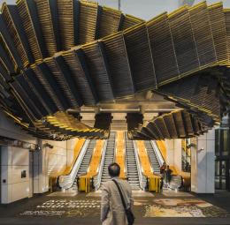 Interloop sculpture in the Wynyard Station, Sydney